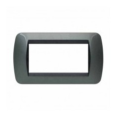 Placca Living International 4 moduli - Acciaio scuro L4804AC