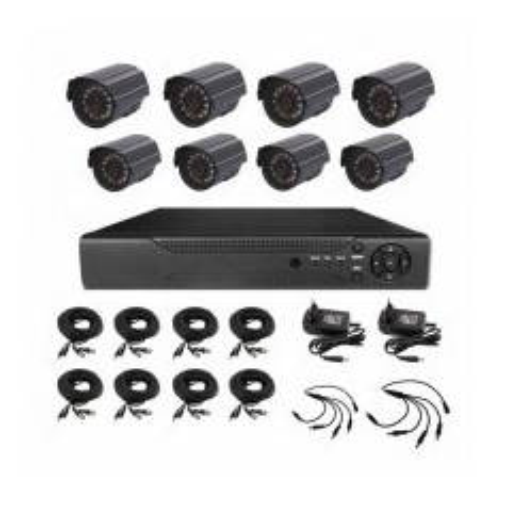 Kit completo videosorveglianza DVR 8CH@D1 + 8 telecamere 1000TVL 3.6mm