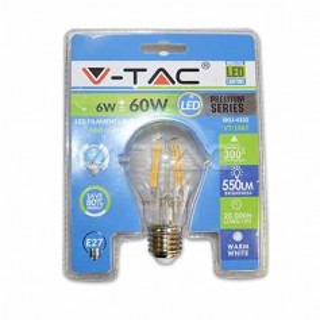Lampadina LED filamento 6W E27 luce bianco caldo 2700K - Blister